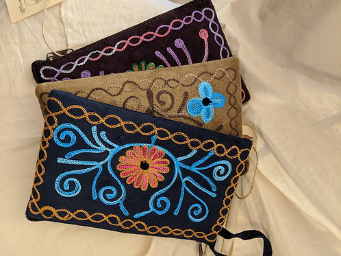 Embroidered Clutch Zippered Pouch Bag