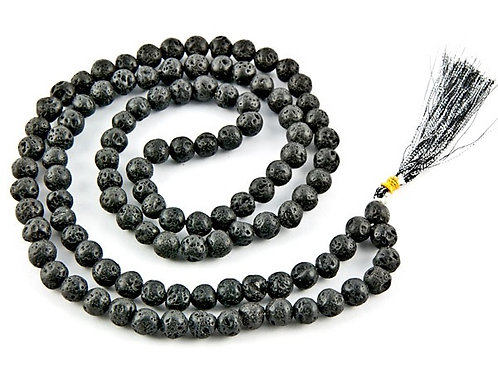 Black Lava Beads Mala Bead Necklace