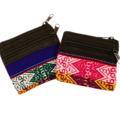 Manta Coin Purse, double zippered Cotton Change Pouch