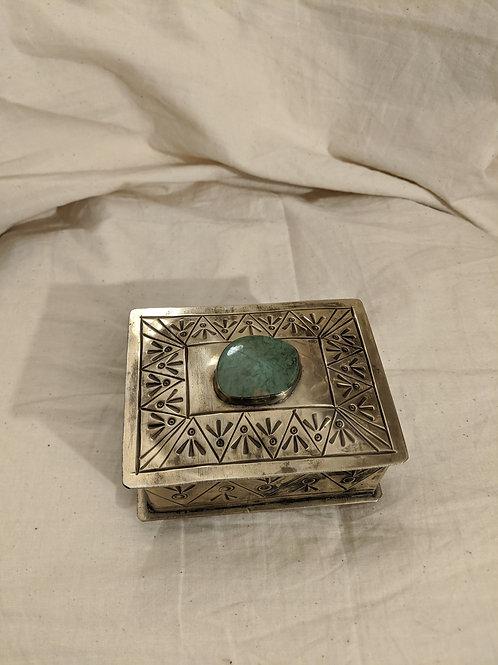 100% Silver Treasures Box with Gemstone Crystal