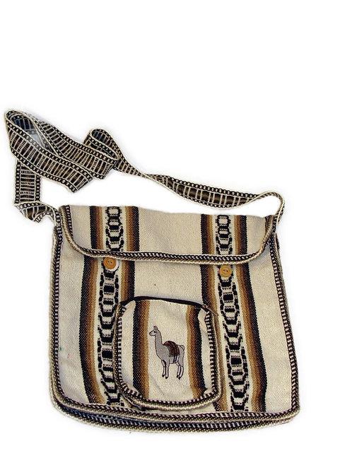"""Wool Purse Tote Bag School Pouch Alpaca Hand Woven 10""""x12"""" Fair Trade"""