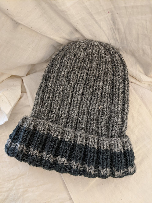 Grey Striped Wool Beanie