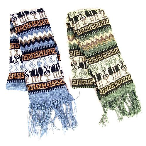 """Alpaca Blend Scarf Geometric Designs 7"""" x 68"""" Knit Assorted Colors Peru"""