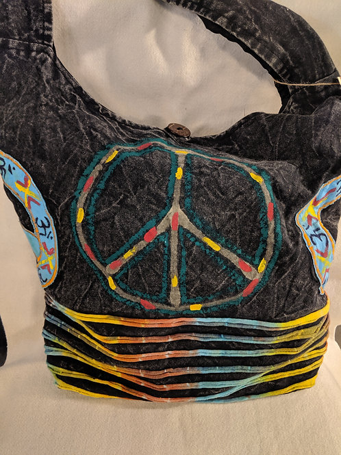 Peace Sign Stone-Washed Hippie Messenger Tote Bag