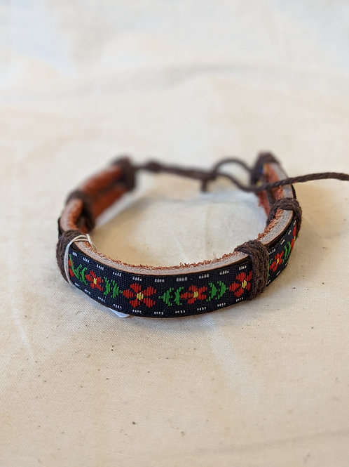 Flower Design Leather Handmade Bracelet - Brown