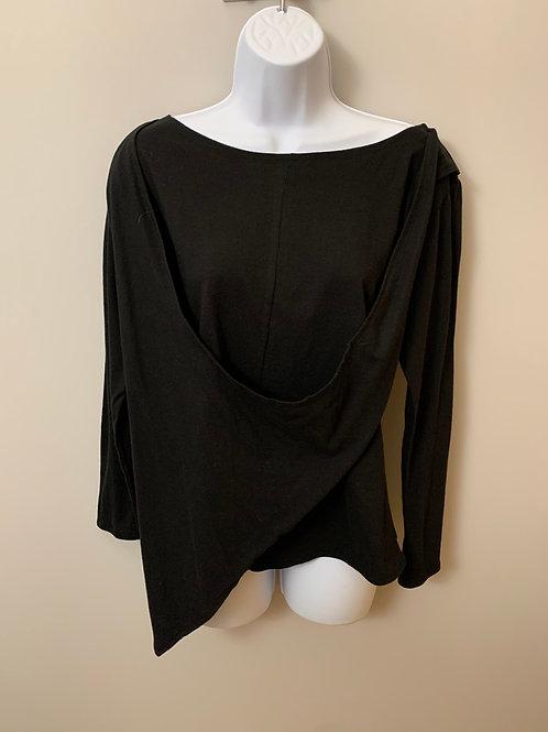 Black Long-sleeve Asymmetrical Layered Top