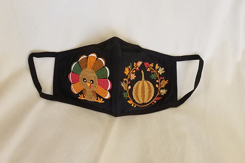 Embroidered Face Mask - Thanksgiving