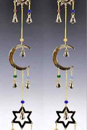 """Sun Moon Star Brass Chime with Beads - 21""""L"""