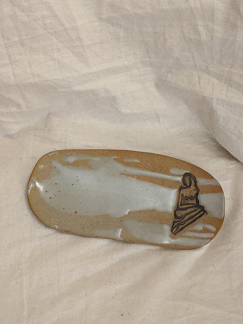 Naked Lady Stamped Ceramic Trinket / Jewelry Tray