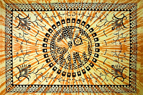 "Elephant Mandala Tapestry 74""x 106"" (Yellow)"