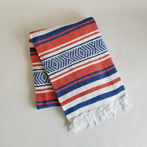 "Coral/Blue/White Mexican Cotton Blanket 75"" x 53"""