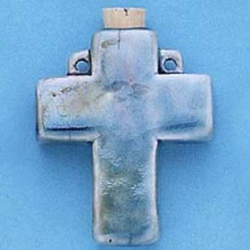 Cross Glazed Clay Vessel Pendant for Necklace - Essential Oil Diffuser
