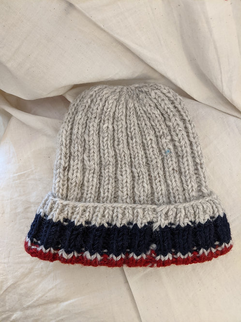 White Red Blue Striped Wool Beanie