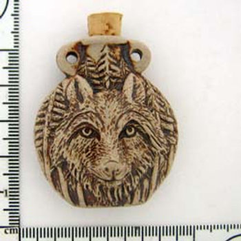 Wolf Clay Vessel Pendant for Necklace - Essential Oil Diffuser