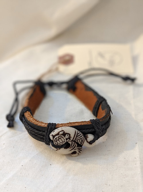 Fiji Turtle + Wave Handcarved Leather Bracelet