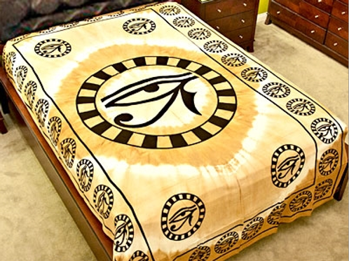 "Egyptian Eye Tapestry (Beige) - 72"" x 108"""