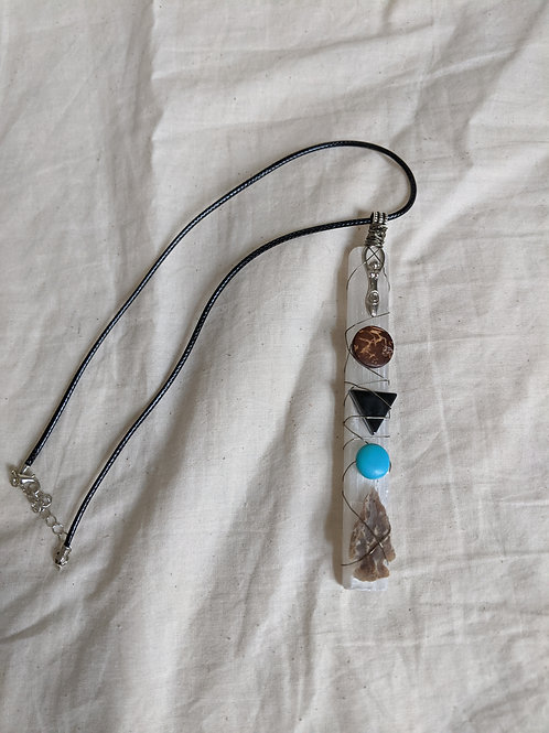 Selenite + assorted crystals pendant necklace