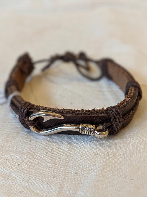 Fish Hook Gender Neutral Leather Handmade Bracelet - Brown