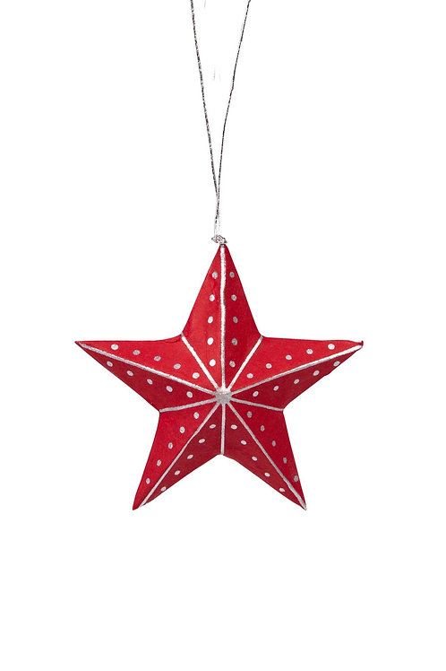 Silver & Red Star Ornament