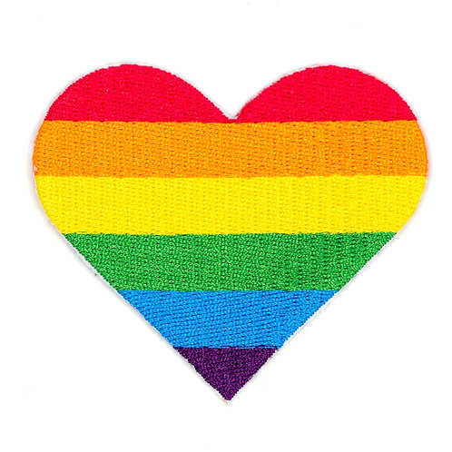 Rainbow Pride Heart Embroidered Iron-On Patch