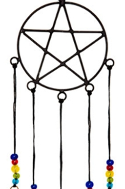 "Pentacle with Beads Windchime 18""H"