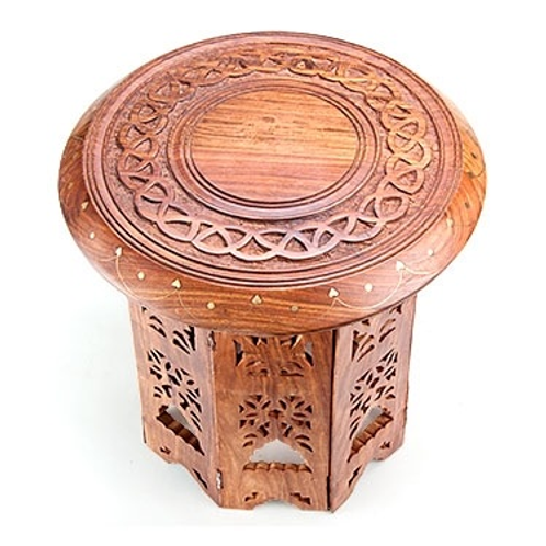 "Celtic Knot Carved Round Altar Table - 12""D, 12""H"
