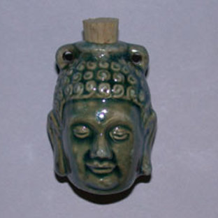 Glazed Buddha Clay Vessel Pendant for Necklace - Essential Oil Diffuser
