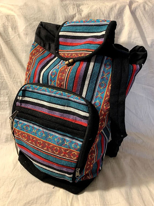 Blue Tribal Boho Pattern Cotton Backpack / Rucksack