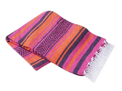 "Pink/Orange Mexican Cotton Blanket 75"" x 53"""
