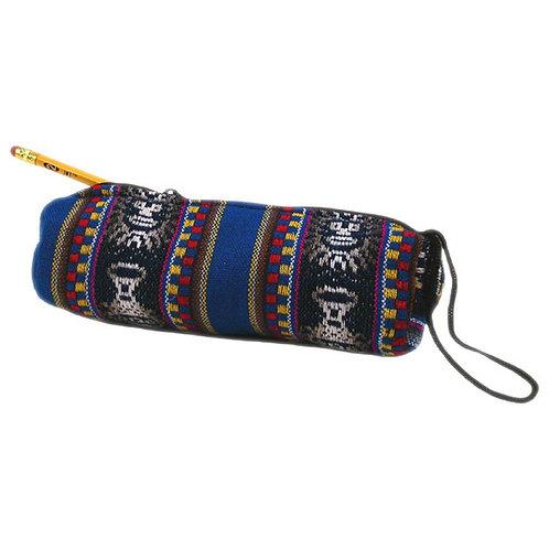 Manta Pencil Bag Cylinder Cotton Lined Zippered Peru