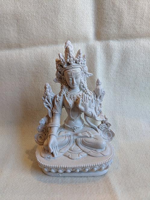White Tara Statue - White Resin
