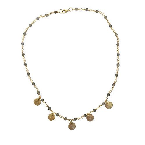 Labradorite Boho Coin Necklace