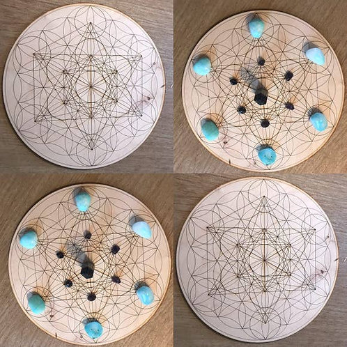 Metatron's Cube Flower of Life Crystal Grid - 4 inches