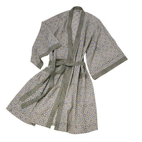 Blockprinted Cotton Kimono Bathrobe