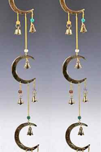 "3 Moon Brass Chime with Beads - 24""L"