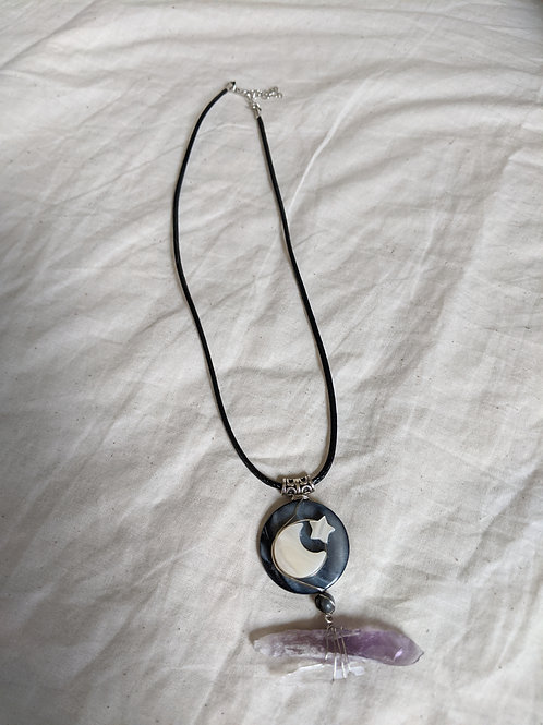 Abalone + Amethyst Moon Star Necklace