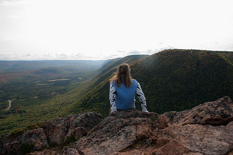 Aleyah on top of Mount Tenerife, Cape Breton