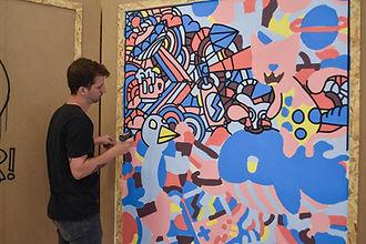 Sotiris Fokeas with one of his artworks