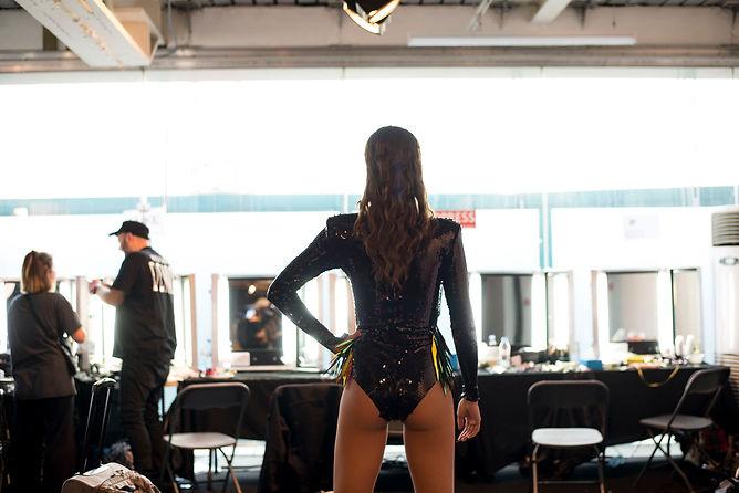 Model poses after runway - backstage LFW