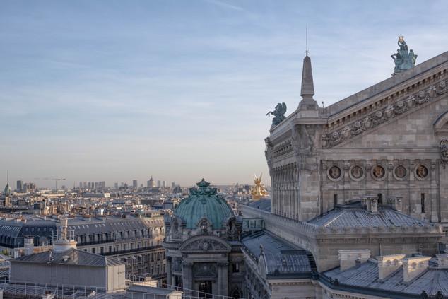 Palais Garnier from Galeries Lafayettes - Metro Opèra or Chaussée d'Antin–La Fayette