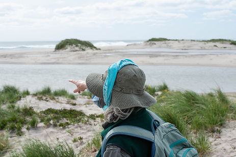 Zoe Lucas pointing along the South Beach