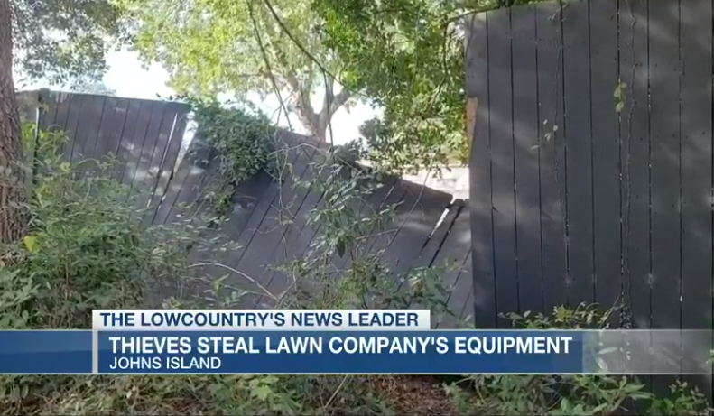 Burglars climb fence damaged by hurricane to steal from lawn care business
