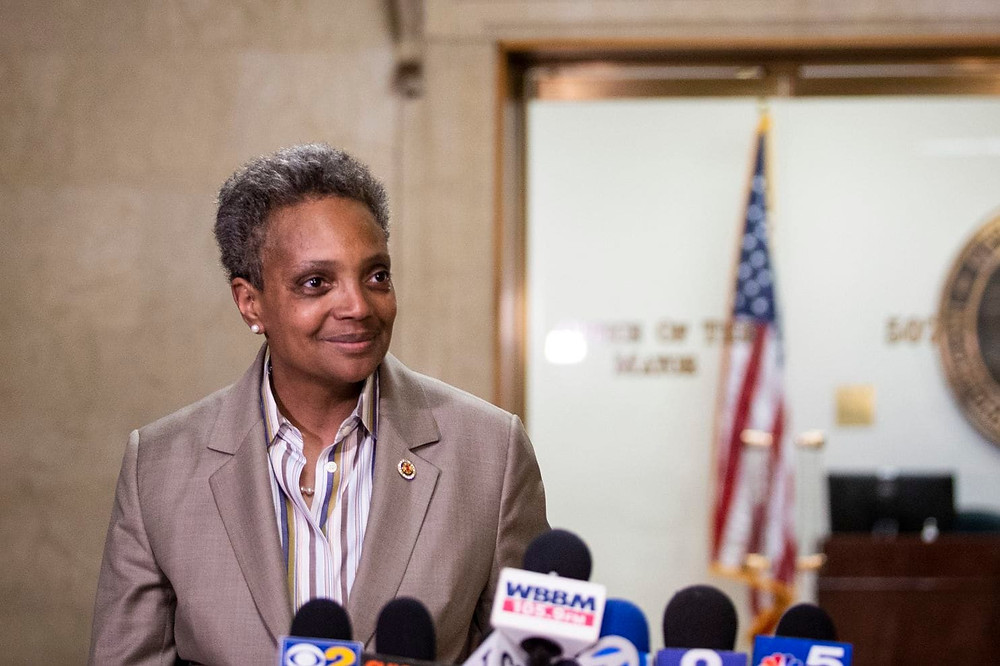 Chicago Mayor-elect Lori Lightfoot speaks to reporters after meeting with Mayor Rahm Emanuel at City Hall on April 3, the day after she defeated Toni Preckwinkle in a runoff election. (Ashlee Rezin/AP)