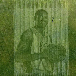 A California couple used a lawnmower and GPS to create this giant grass mural of Kobe Bryant