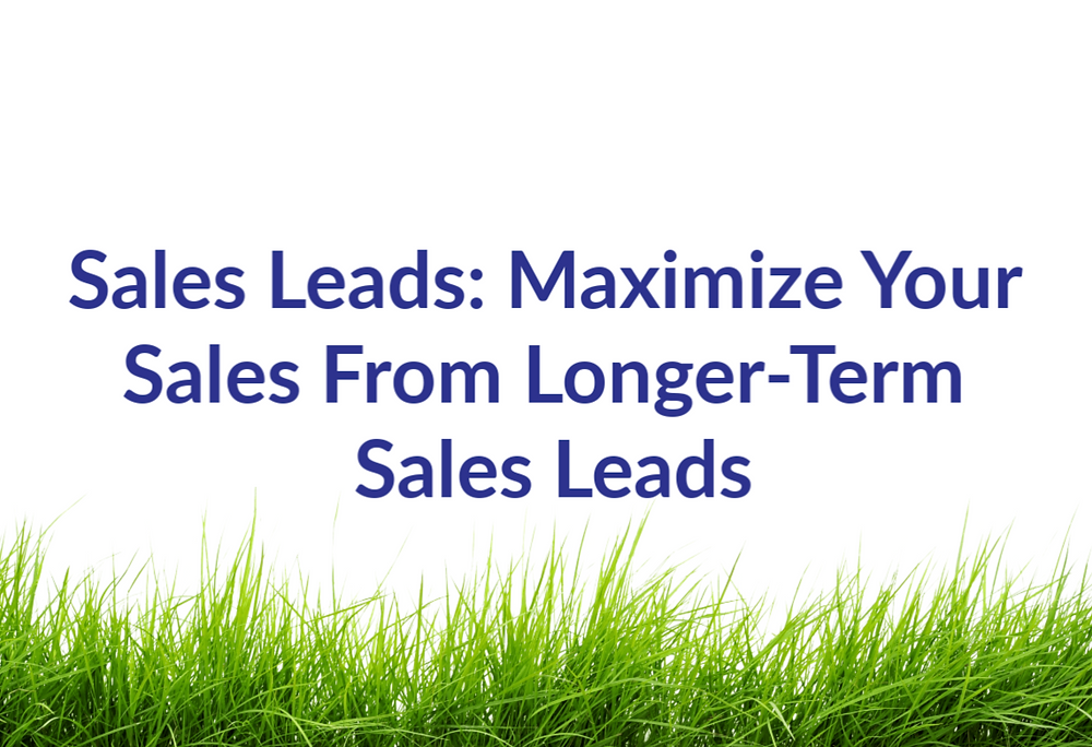 Sales Leads: Maximize Your Sales From Longer-Term Sales Leads