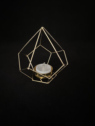 """4½"""" x 4""""Gold Geometic Candle Votive"""