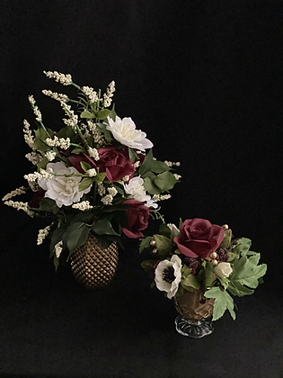 Burgundy Flowers in Gold Vase