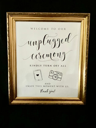 """Large """"Welcome to Our Unplugged Ceremony..."""""""