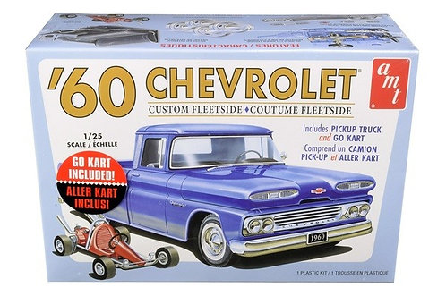 Picape Chevy Custom Fleetside 1960 com Go Kart 2T - 1/25
