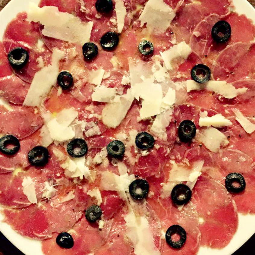 Beef Carpaccio with Black Olives
